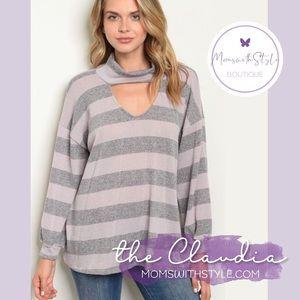 NWT women's stripe blouse top long sleeve USA made